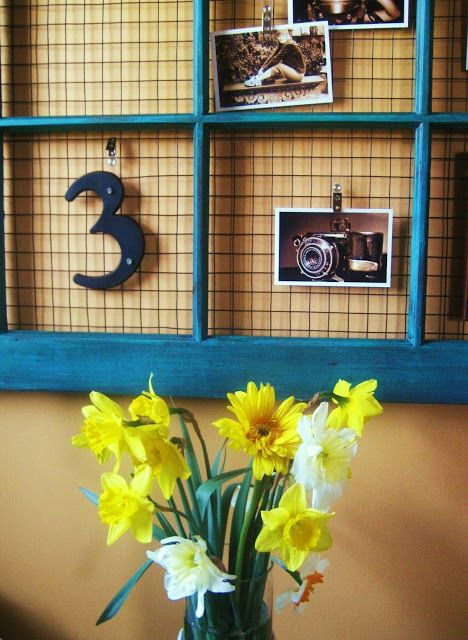 Recycled window frame notice board