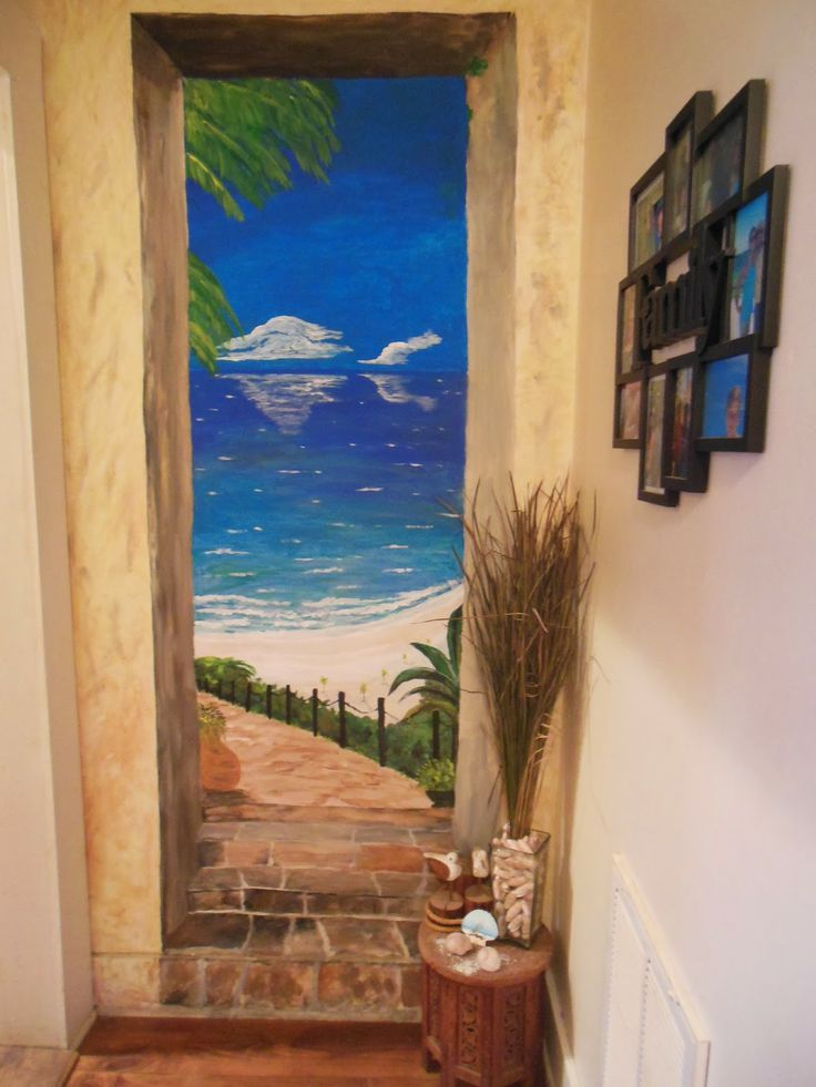 trompe l 39 oeil beach mural painting kathleen mcqueen wright artist pinterest beach mural. Black Bedroom Furniture Sets. Home Design Ideas
