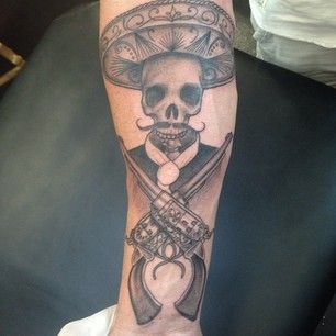 Skull Tattoo by Gus Honey at LDF Tattoo Newtown, Sydney, NSW. #tattoo #sydneytattoo #skulltattoo #ldftattoo #mexicantattoo #guntattoo #pistoltattoo