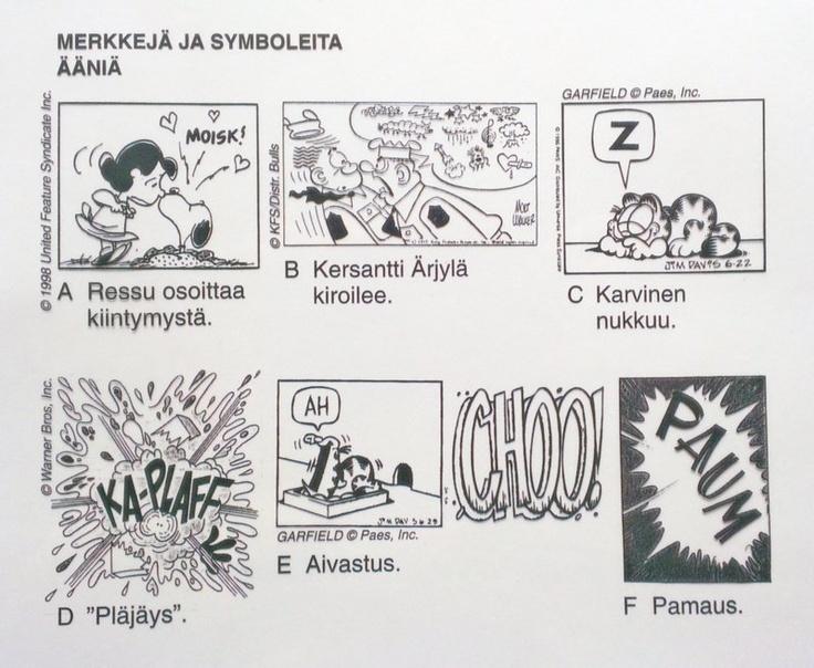 Sarjakuva - äänimerkkejä, symboleita (taustaa).