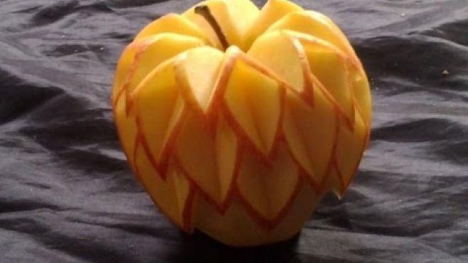 Meyve Sanatı - Basit Ve Hoş Elma Yapımı - Meyve sanatı - teknikleri, örnekleri ve ipuçlarını videolu anlatımı, elma yapımı