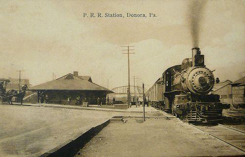 Pennsylvania Railroad arrives in Donora