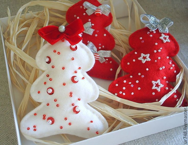 """Купить Комплект новогодних украшений """"Нарядная елочка"""" - ярко-красный, Новый Год, новогодний подарок"""