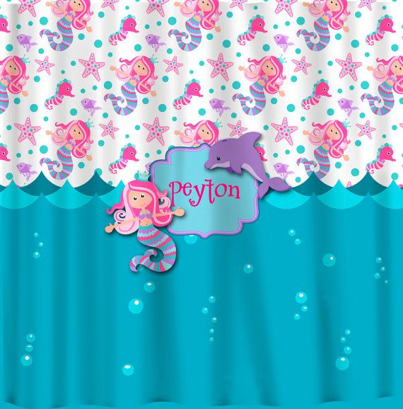 Personalized Custom Mermaid Shower Curtain Turquoise by redbeauty, $78 ...