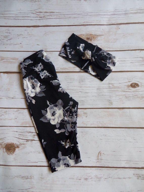 Girls Floral leggings set Baby leggings by TheHippieMermaidco