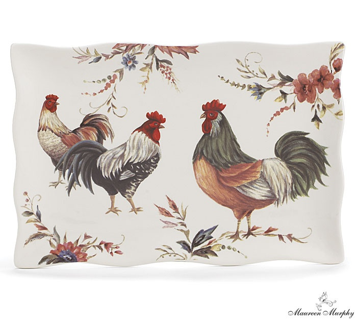 Embrace the very popular fresh-from-the-farm living with our #burtonandburton Cucina rooster ceramic scalloped platter featured in the June 2013 Super Floral Retailing magazine! #roosters