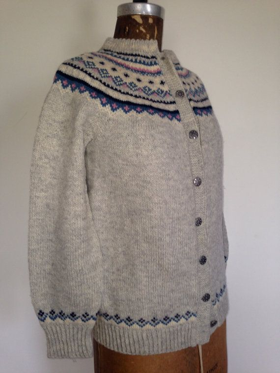 NORWEGIAN Fair Isle WOOL Cardigan  Nordic by BrocanteBedStuy