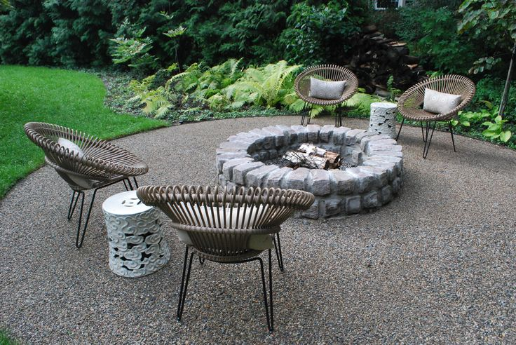 A landscape that encourages the eye to focus on a particular feature slows down the pace of discovery.  There is time to see and take in the relationship between the gravel terrace, the firepit fashioned from old granite setts, the cylindrical side tables and the circular contemporary chairs.