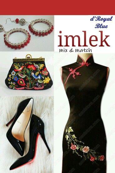 Imlek inspiration - mix & match Cheongsam, louboutin, embroidered purse, and our earrings.  #imlek #indonesia #earrings #handmade