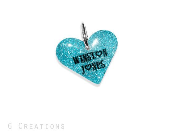 Blue Glitter Heart Dog Tag ID  Glow in the by GabriellesCreations