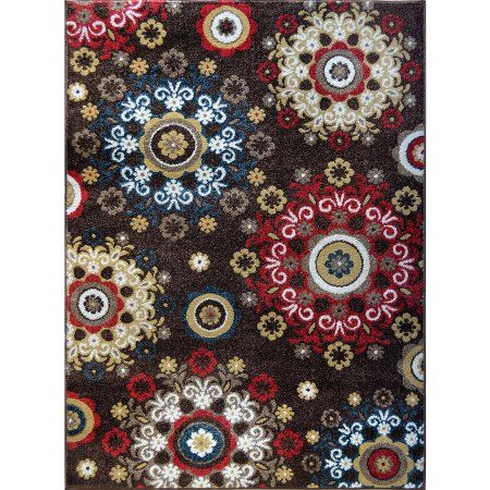 Home Dynamix Reaction Collection HD4037 Modern Area Rug, Brown