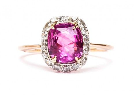 an amazing Edwardian ring made from 18k yellow gold and platinum engagement ring featuring an unheated pink sapphire #pinksapphire #engagementring #pinkring http://trumpetandhorn.com/magnolia.html