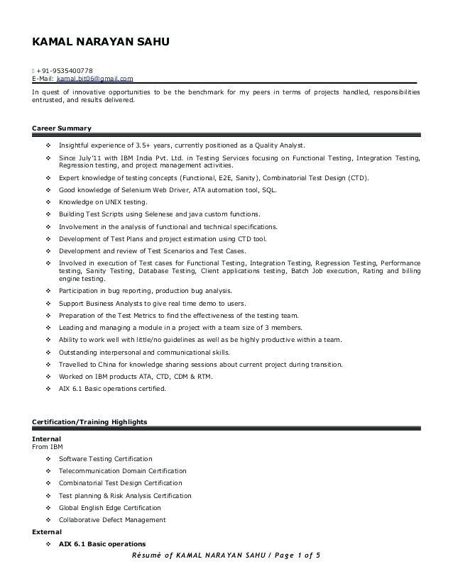 Resume Format For 5 Years Experience In Testing Manual Testing Resume Format Sample Resume