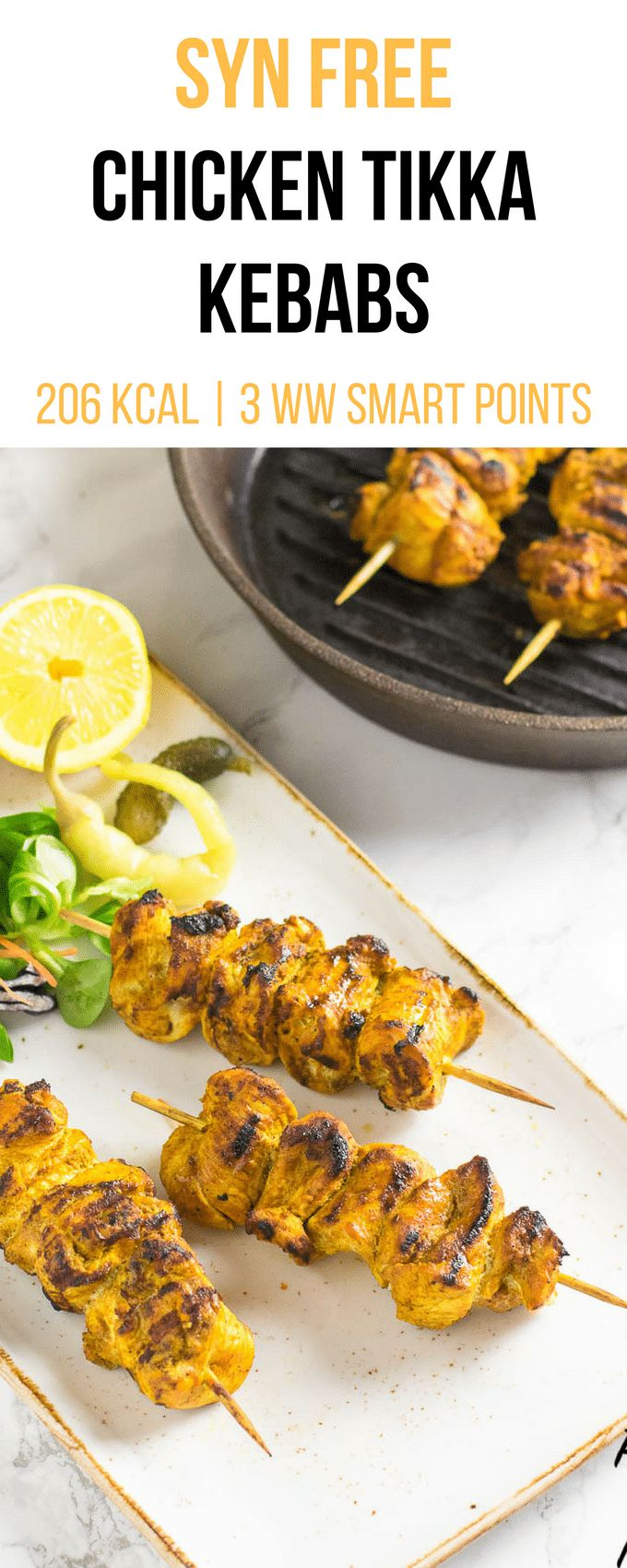 Syn Free Chicken Tikka Kebabs | Syn free Slimming World | 3 Weight Watchers Smart Points | 206Kcal | pinchofnom.com