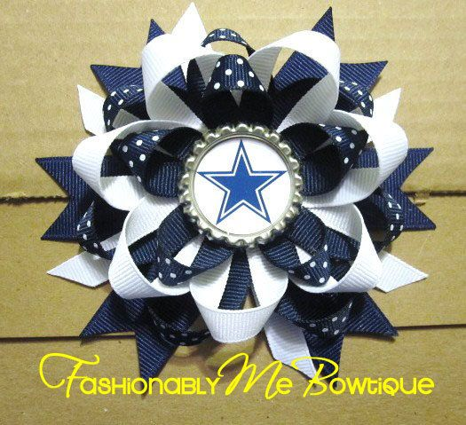 PICK YOUR TEAM Dallas Cowboys Boutique Stacked Bottlecap Bow All teams Available. via Etsy.