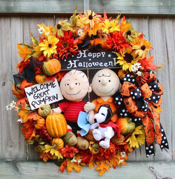 Great Pumpkin Charlie Brown Halloween Peanuts Wreath,  by IrishGirlsWreaths on Etsy, $189.99