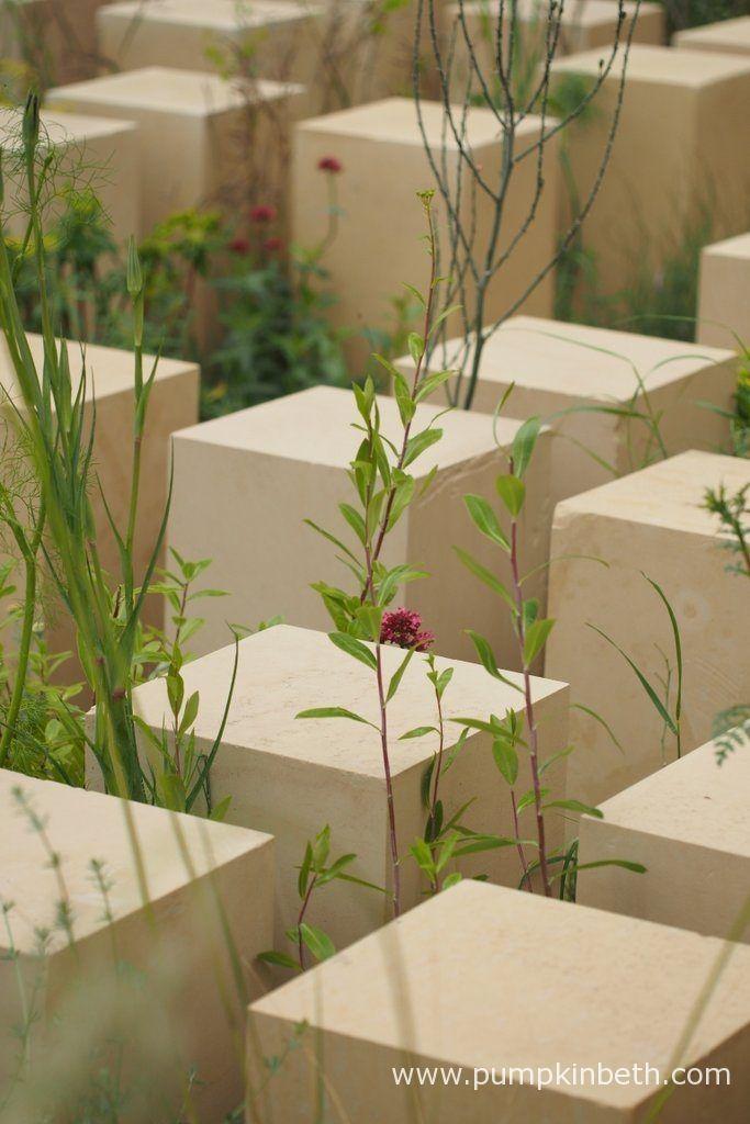 Limestone columns in James Basson's M&G garden at RHS Chelsea 2017.