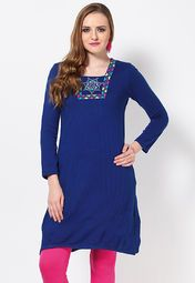 Check out this blue kurta from Aurelia that will keep you warm and cosy, without bringing down the style quotient. Designed for modern Indian women, this knee-length kurta features colourful embroidery on the front for added attraction.