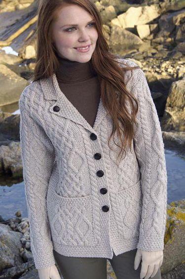 Аран ремесла ірландський Аран жінок Шерсть Кабельне в'язати светр One Button