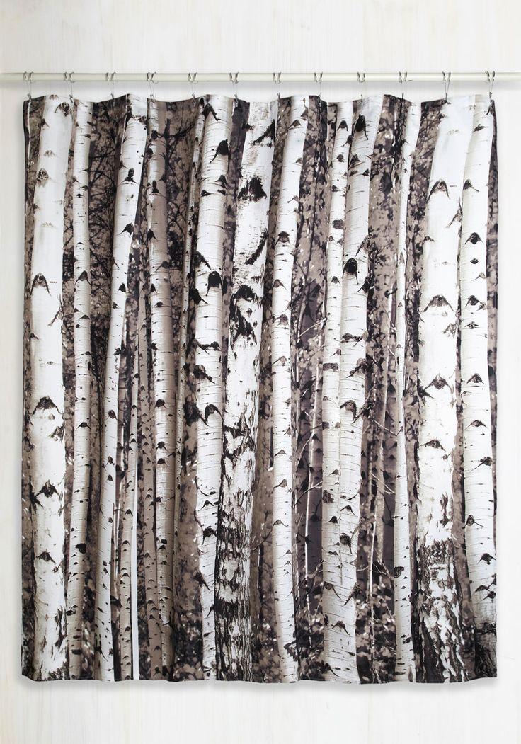 Beyond the Grove Shower Curtain in Winter Birch by Kikkerland - Multi, Rustic, Good, Novelty Print, Fall, Gifts2015, Guys, Black, Grey, Best Seller, Best Seller
