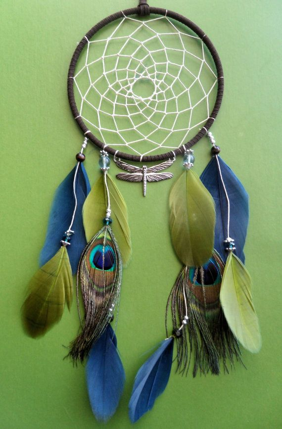 Dream Catcher  Dragonfly  Peacock  Green by The Modern Dreamer, $38.00