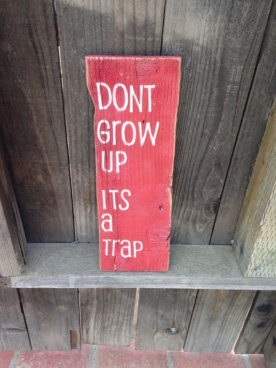 """""""Don't grow up, it's a trap."""" sign LOL"""