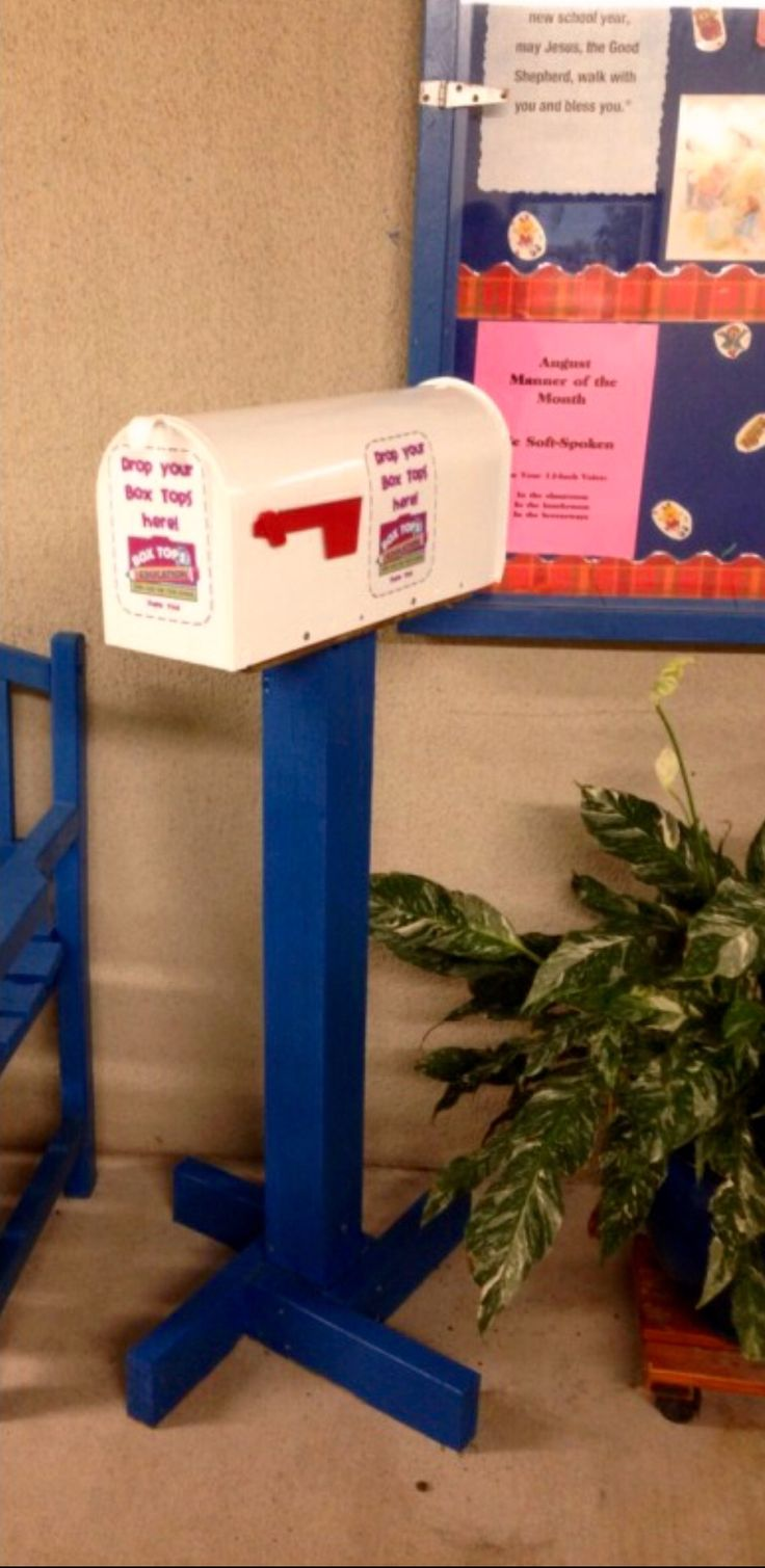 Box tops mailbox located in the front of the school for easy submission
