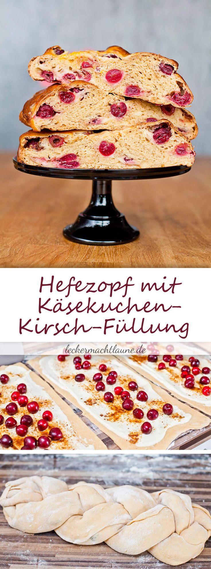 Perfekt für die leckere Verwertung von Süßkirschen: Hefezopf mit Käsekuchen-Kirsch-Füllung!