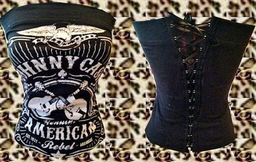 "ROCKABILLY COWGIRL CORSET Black N White ""JOHNNY CASH AMERICAN REBEL"" with Crossed Guitars and Eagle Lace Up Back Western Corset Style Top"