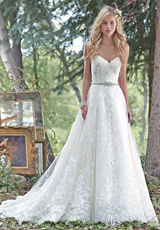Elegant ball gown wedding dress with a romantic sweetheart neckline + Swarovski crystal belt   Maggie Sottero   https://www.theknot.com/fashion/luna-maggie-sottero-wedding-dress