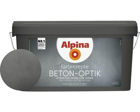 Alpina Farbrezepte Effektfarbe Beton-Optik Komplett Set grau ink. Alpina-Kelle