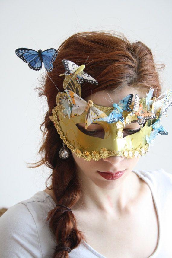 Gold Masquerade Mask masquerade ball mask halloween fairy mask butterfly mask gold bridal mask venetian carnival mask PAPILLON