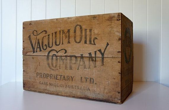 I really love this vintage crate with Vacuum Oil Company branding on it, this vintage item is available in Australia - pick up only from Boonah QLD because of its substantial nature. Vintage wooden Vacuum Oil Company Laurel crate by AlbertandGrace