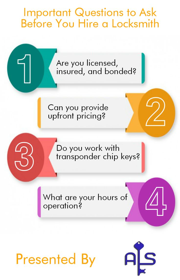 Read this infographic and know the most important questions about the locksmith, which you help to choose perfect locksmith for your home and commercial.
