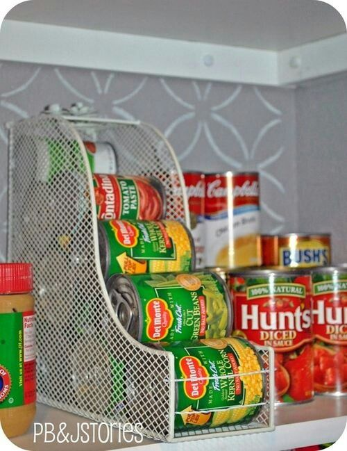 Magazine racks.  Save space with canned gods.