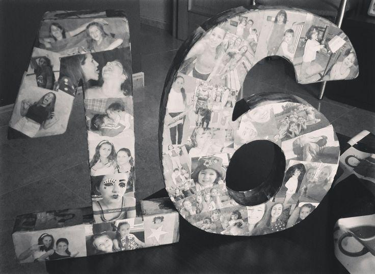 números de poliexpan forrados con fotos para mi sobrina Alba para su 16 cumpleaños.