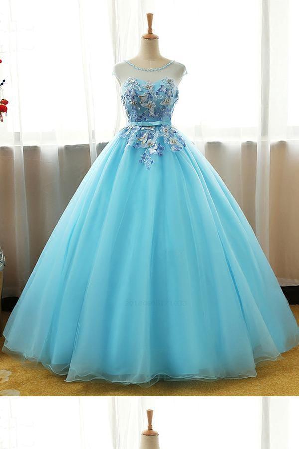Outlet Light Long Cute A Line Light Blue Dresses Dresses