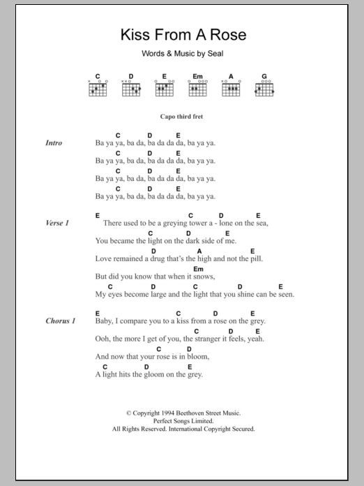 Kiss From A Rose by Seal - Guitar Chords/Lyrics - Guitar Instructor #guitarchords