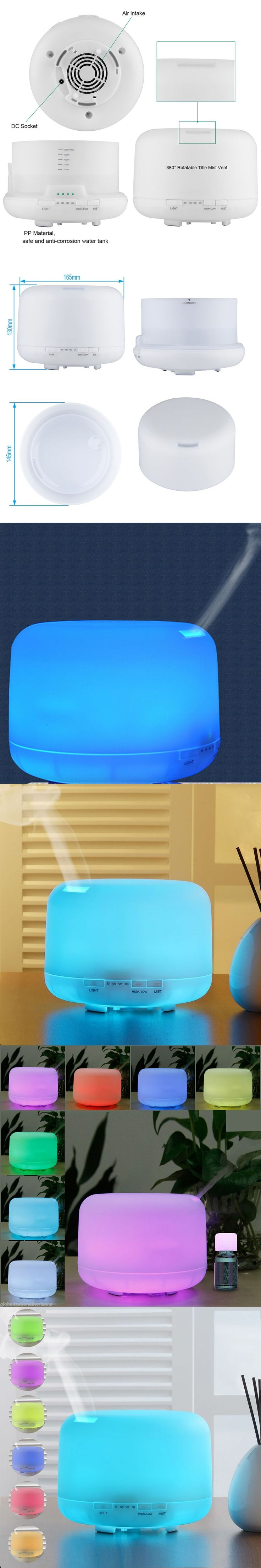 New Aromatherapy Air Humidifier 500ml Ultrasonic Mist Essential Oil Diffuser Waterless Auto Shutoff 7 Color Dimmable LED Lamps