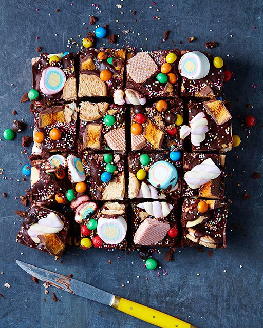 Rainbow Rocky Road by Mima Sinclair - http://www.sweetpaulmag.com/food/rainbow-rocky-road #sweetpaul - very tempted to make a variation of this. Would do a base layer of fluffy cake with one layer of cream inside topped with a layer of this colourful rocky road. Would that work?!