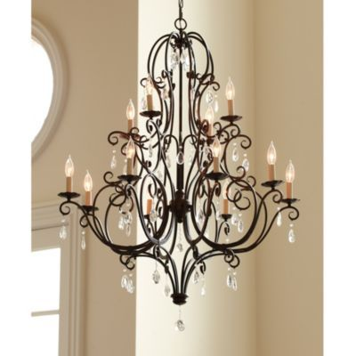 "Waldorf 12 Light Chandelier | Lighting | Ballard Designs - Foyer Dimensions: Overall: 47""H X 36"" Diameter Ceiling Canopy: 5"" Diameter Chain: 5'L  Uses twelve 60W max candle bulbs"