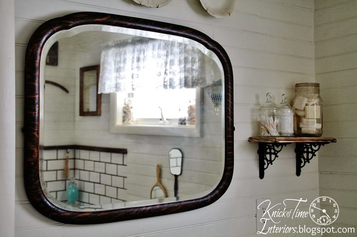 Farmhouse Bathroom Makeover ... {again} - Knick of Time-shelf with soaps and q-tips in jars