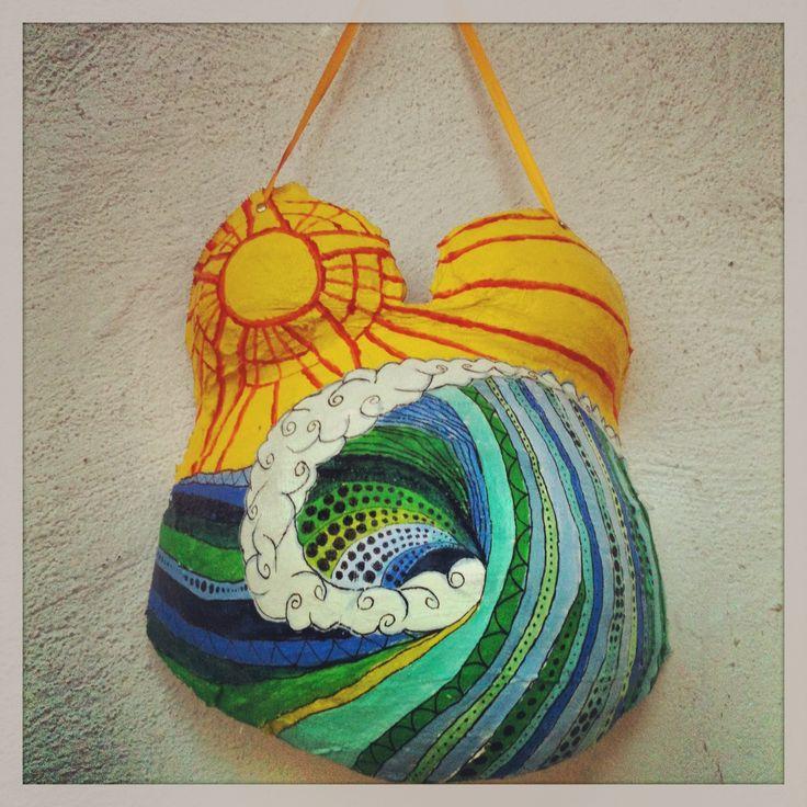 molde barriga embarazada pintada de mar