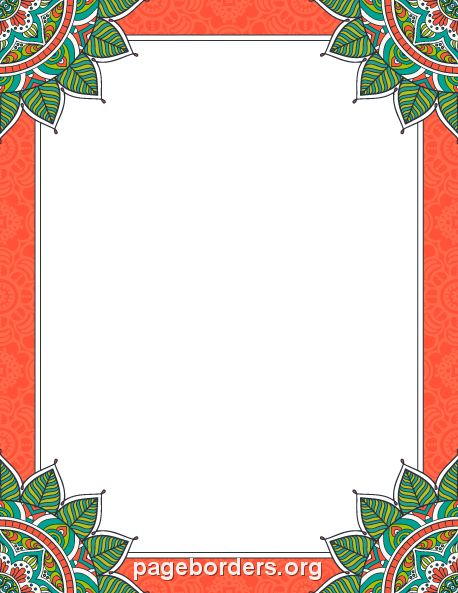 Printable mandala border. Use the border in Microsoft Word or other programs for creating flyers, invitations, and other printables. Free GIF, JPG, PDF, and PNG downloads at  http://pageborders.org/download/mandala-border/