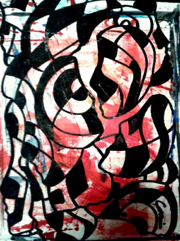 Mujer Pop Cozzani opera unica dipinto astratto l'incontro tra l'espressionismo astratto materico e il genere Mujer