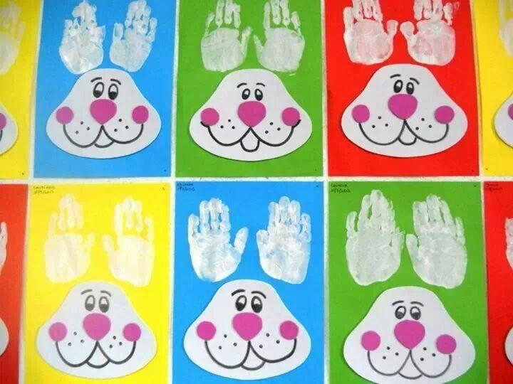 Easter activities: Hand print bunny ear craft. Cute!