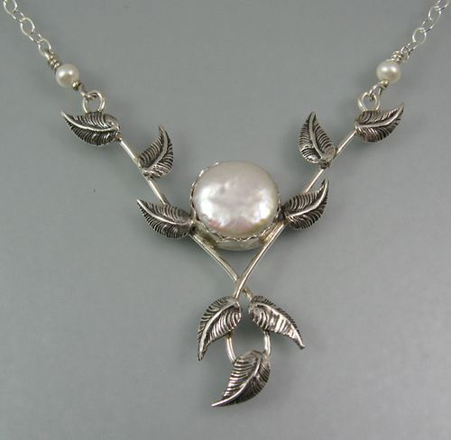 """Pearl and winding vine necklace - """"Lover's Embrace Vine Necklace"""" - handcrafted from sterling silver by Kryzia Kreations www.kryziakreatio...  $230.00"""