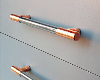 Copper And Chrome T Bar Handle Copper Rose Gold Kitchen Cupboard Pulls Cabinet Pull Drawer Handles Kn Rose Gold Kitchen Furniture Handles Woodworking Carpentry