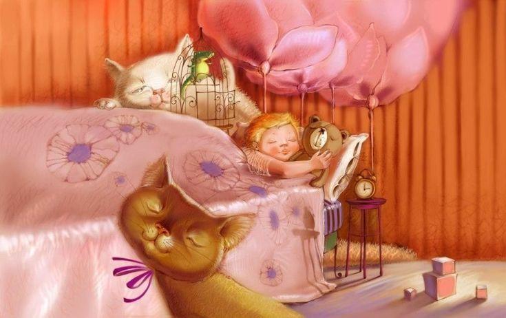 Приколом день, открытка с кроватью