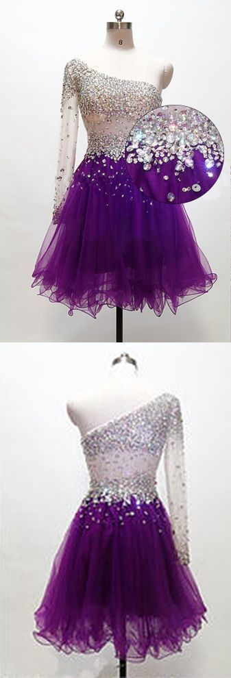 Grape Homecoming Dress,One Shoulder Homecoming Dresses,Tulle Homecoming Gowns,Short Prom Gown